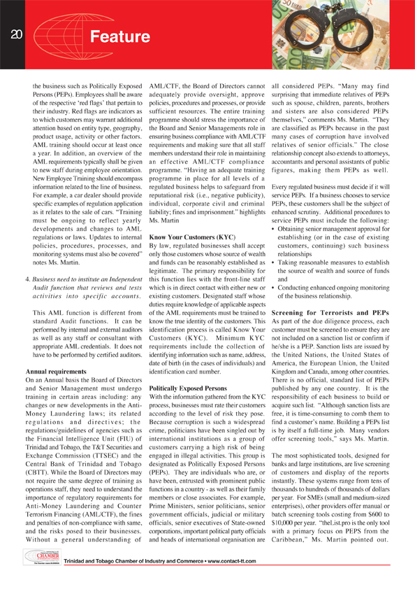 Contact - Magazine of Trinidad and Tobago Chamber of Industry and Commerce - Anti-Money Laundering is everybody's business
